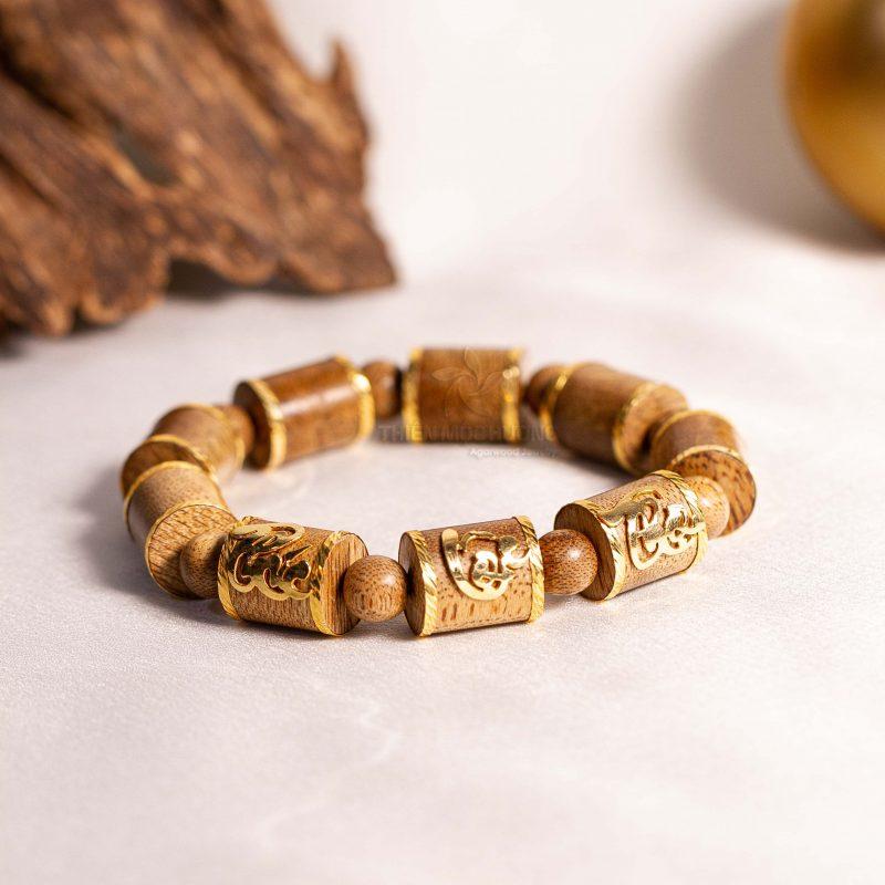 Golden Phuc Loc Tho bamboo agarwood beaded bracelet