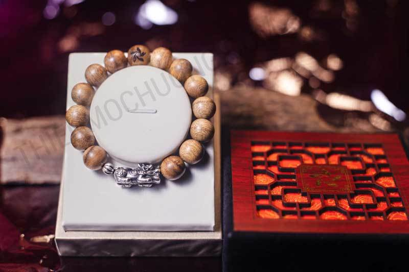 Pixiu agarwood beaded bracelet with silver s925 - classic