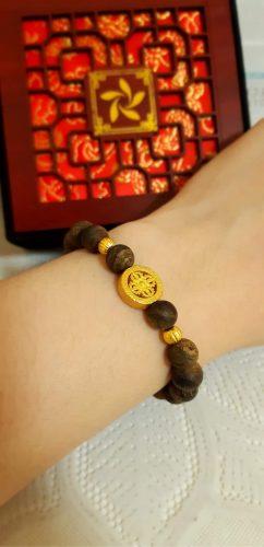 Pixiu agarwood beaded bracelet with 24k gold - premium photo review