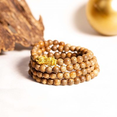 Pixiu 108 beads agarwood bracelet with 24k gold - classic