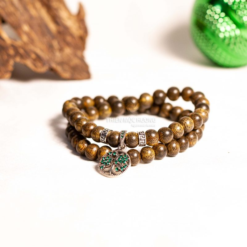 Family tree agarwood beaded bracelet with Silver S925 - Classic