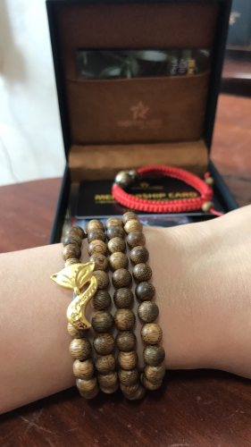 Double round nine-tailed fox agarwood beaded bracelet with 24k gold - classic photo review