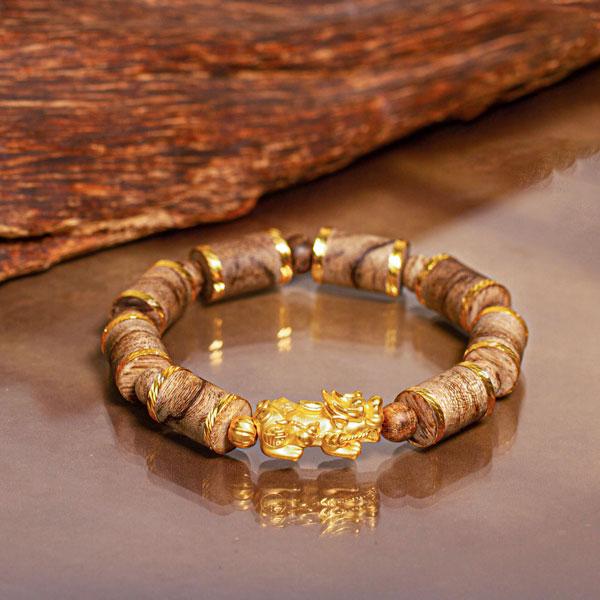 Philippines pixiu bamboo agarwood bracelet with 18k gold