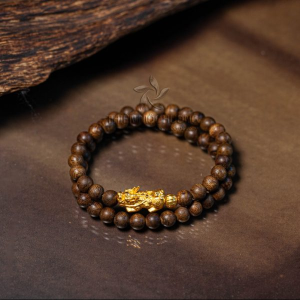 Philippines double round pixiu agarwood beaded bracelet