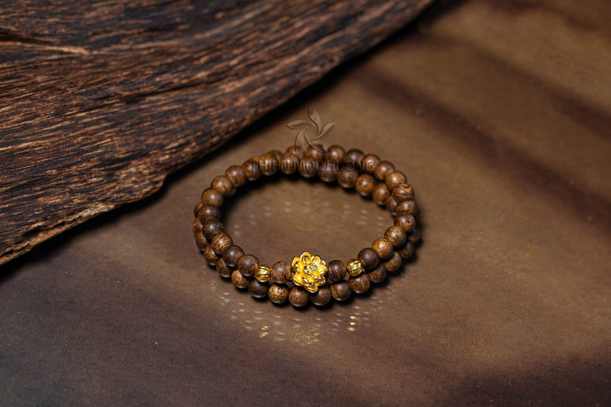 Philippines double-round lotus agarwood beaded bracelet