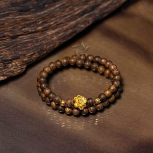 Philippines double-round lotus agarwood beaded bracelet