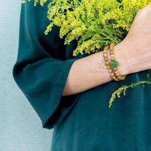 Double round Jade Lotus agarwood beaded bracelet