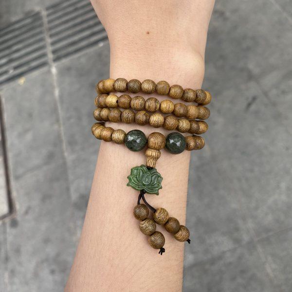 Jade Lotus 108 mala beads bracelet