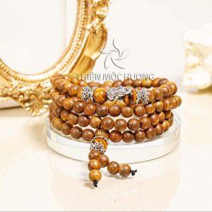 Money frog agarwood 108 mala beaded bracelet
