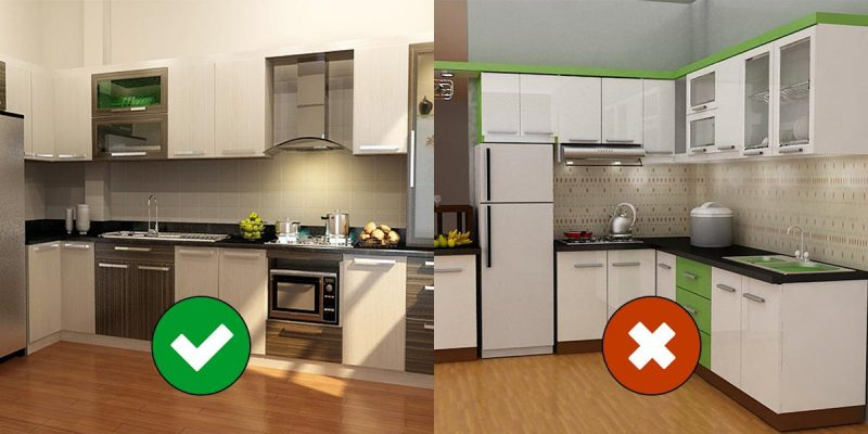 The kitchen SHOULD NOT be placed next to the refrigerator or sink