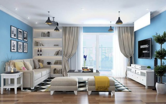 Paint for the living room according to feng shui for Water element