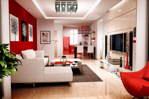 Paint for the living room according to feng shui for Fire element