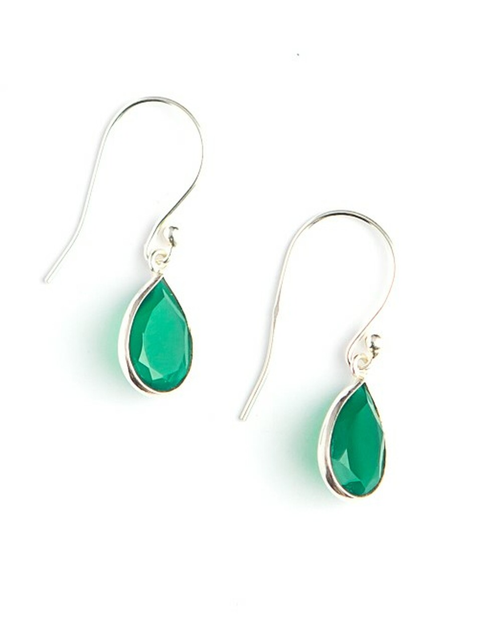 Earrings - Green quartz stone: